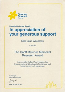 The Geoff Matches Memorial Research Award