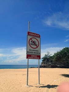 These signs are everywhere along the coast. The water looked fine to me, not sure if it's more a statment about swimming ability in this part of the world.