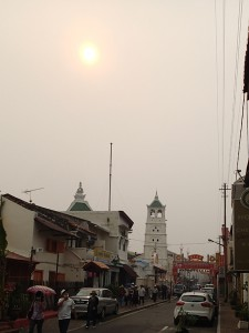 The strange looking sun through the haze over Melaka from the Sumatran fires