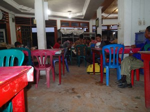 The requisite plastic furniture at one of the rest break stops we made on the bus journey north from Dumai.