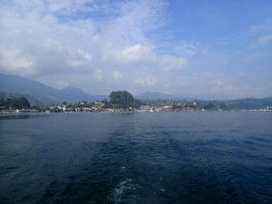Clear skies! Looking back at Parapat from the ferry across Lake Toba, North Central Sumatra.