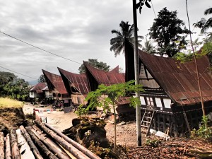 More lovely traditional Indonesian houses on the Lake Toba shore.
