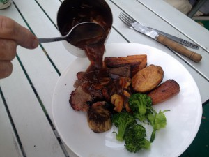 Roast beef and vege! Yum.