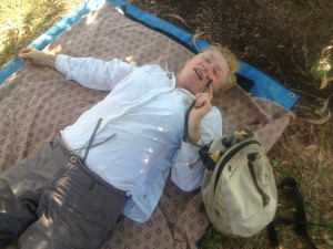 Lying down after pushing through 45km into a strong headwind. The things we do to our mothers!