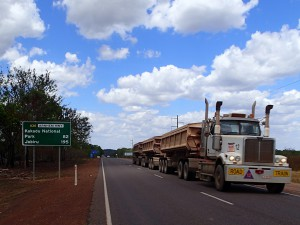 These enormous trucks, called Road Trains, are terrifyingly common on the roads in Northern Australia. Up to four trailers long, they are loud and fast and darn scary when they pass you on your itty-bitty little bike on a road that seems waaaaayyy too narrow at that point in time.