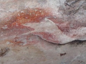 Indigenous rock painting in Kakadu. A little warning about crocodiles, perhaps?
