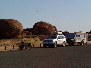 The support convoy at the Devil's Marbles