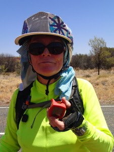 Mum smashes the 100km mark but is too tired to crack a smile. Awesome.