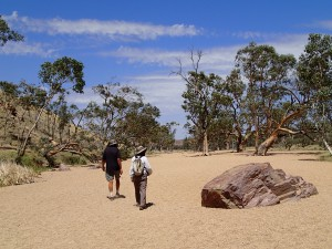 Mum and Ron take a stroll along the dry riverbed at Simpson's Gap, Western McDonnell's