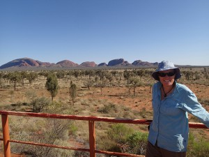 Posing for the requisite tourist photo in front of Kata Tjuta, Uluru's oft ignored sister formation