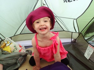 Happiness is playing inside your big cousin's tent