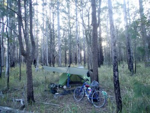 "Found a beautiful bush campsite courtesy of a ""short cut"" mapped out by Google"